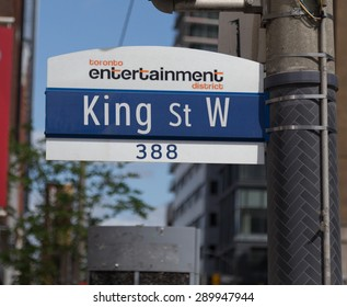 TORONTO, CANADA - 19TH MAY 2015: A sign for King Street West in the entertainment district of Toronto