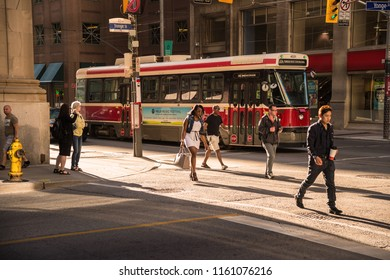 Toronto, Canada - 2 July 2016: Streecar on King Street. Toronto streetcar system is operated by Toronto Transit Commission (TTC).