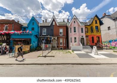 Toronto, Canada - 2 July 2016: Kensington Avenue and Kensigton market in Toronto, Canada.
