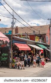 Toronto, Canada - 2 July 2016: Kensigton Avenue and Kensigton market in Toronto, Canada.