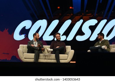 Toronto , Canada - 20 May 2019; Seth Rogen, Co-founder, Houseplanton, centre, waves to the crowd with Evan Goldberg, Canadian screenwriter, and Karan Wadhera, Managing Partner, Casa Verde Capital, rig