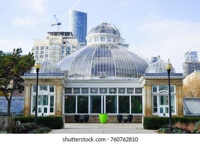 TORONTO, CANADA - 20 NOVEMBER 2017. Gardens and the Palm House at the Allan Gardens, in the Garden District, Toronto
