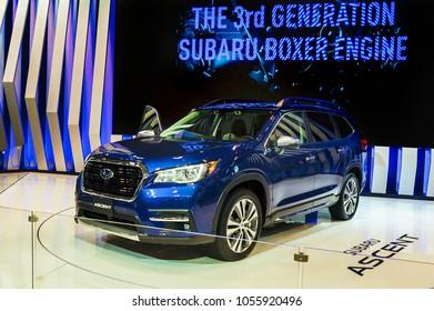 Toronto, Canada - 2018-02-19 : 2019 Subaru Ascent Concept displayed on the Subaru Corporation exposition on 2018 Canadian International AutoShow