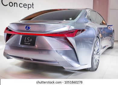 Toronto, Canada - 2018/02/19: Back view of the Lexus LS+ Concept, which was displayed on the Lexus brand exposition on 2018 Canadian International AutoShow