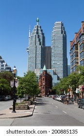 TORONTO, CANADA - 22 JUNE 2014: A view down Front Street East towards Downtown Toronto