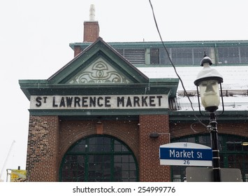 TORONTO, CANADA - 22ND FEBRUARY 2015: The outside of St Lawrence Market during the winter in downtown Toronto, showing snowy conditions