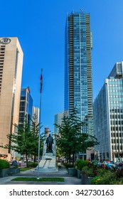 TORONTO, CANADA - 23 JULY, 2014: Modern Architecture in Downtown Toronto. Downtown Toronto has prominent buildings in a variety of styles by many famous architects. Sunset.