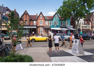Toronto, Canada - 24 June 2017: Kensington Avenue in the Kensington Market District in Toronto, Canada.