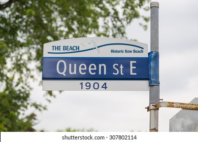 TORONTO, CANADA - 25TH JUNE 2015: A sign for Queen Street East in The Beach district of Toronto