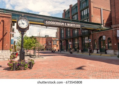 Toronto, Canada - 26 June 2017: Distillery District (former Gooderham and Worts Distillery)