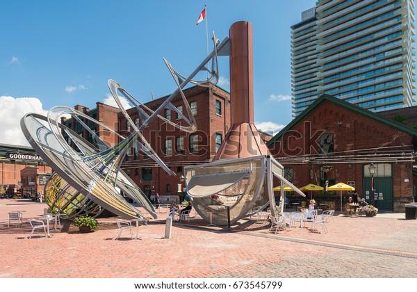 Toronto, Canada - 26 June 2017: Distillery District (former Gooderham and Worts Distillery)
