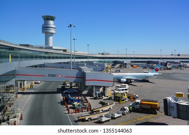 TORONTO, CANADA -26 MAR 2019- View of airplanes from Air Canada (AC) at the Toronto Pearson International Airport (YYZ), the largest and busiest airport in Canada.