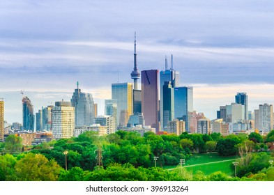 Toronto, Canada - 27 may 2013: Skyline of downtown Toronto, Canada, with Cn Tower in the spring from Riverdale Park East