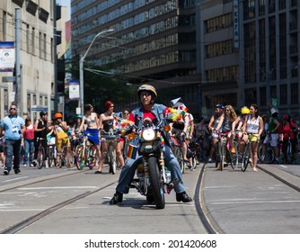 TORONTO, CANADA - 28TH JUNE 2014: People Celebrating for the Annual Dyke March in Central Toronto