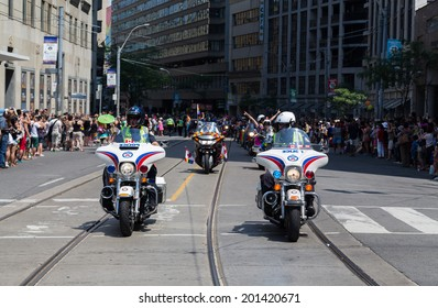 TORONTO, CANADA - 28TH JUNE 2014: Police Bikes as part of security for the Annual Dyke March in Central Toronto