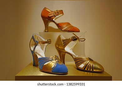 TORONTO, CANADA -29 MAR 2019- View of vintage shoes at the Bata Shoe Museum dedicated to the history of footwear located in downtown Toronto, Ontario, Canada.