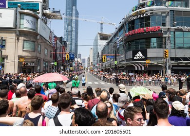 TORONTO, CANADA - 29TH JUNE 2014: View down Yonge Street for the World Pride Parade in Toronto showing large crowds
