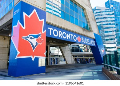 Toronto, Canada -4th 0ct 2018: Toronto Blue Jays, the MLB baseball team shop front near the CN Tower in Toronto.