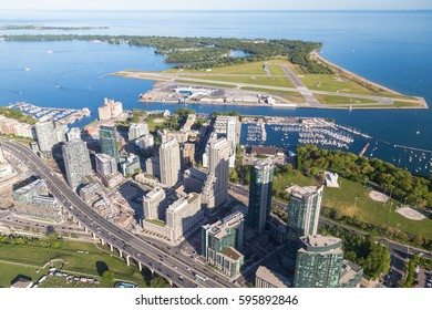 TORONTO, CANADA - 6TH JUNE 2015: A view towards Toronto Billy Bishop Airport and Lake Ontario from the air