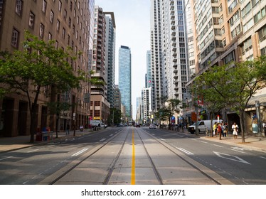 TORONTO, CANADA - 9TH SEPTEMBER 2014: View up Bay Street in downtown Toronto during the day