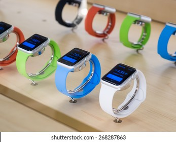 TORONTO, CANADA - APRIL 10, 2015: A couple of new Apple Watch Sport sit at the retail store. Apple begins the Apple Watch pre-order at the Canadian retail stores this day.