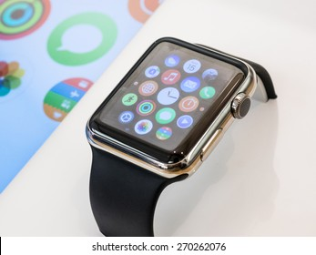 TORONTO, CANADA - APRIL 10, 2015: A new Apple Watch stis at the Apple Store in Toronto.