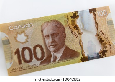 TORONTO CANADA - APRIL 10 2018: Canadian $20 dollar banknotes. It is predominantly green and a polymer-based note featuring Queen Elizabeth II on the face and the Vimy
