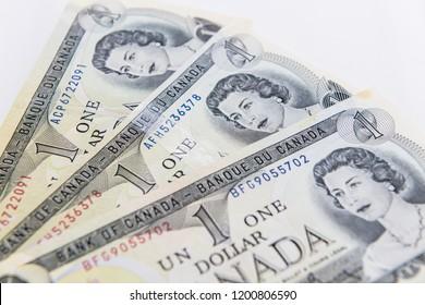 TORONTO CANADA - APRIL 10 2018: One dollar Canadian banknotes
