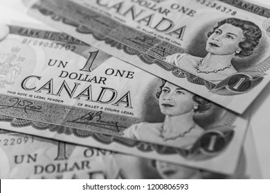 TORONTO CANADA - APRIL 10 2018: One dollar Canadian banknotes