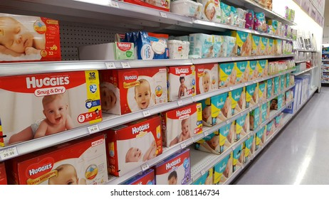 TORONTO, CANADA - APRIL 14, 2018: Diapers on supermarket shelves in Toronto.