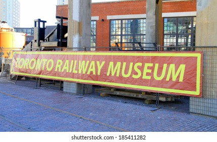 TORONTO, CANADA - APRIL 2, 2014: Toronto Railway Museum banner at the Roundhouse Park in Toronto. The Roundhouse Park is a 17 acre park in Downtown Toronto in the former Railway Lands.