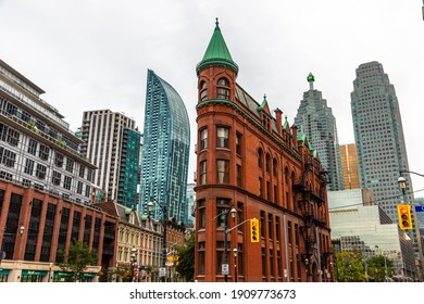 TORONTO, CANADA - APRIL 2, 2020: Gooderham Building in Toronto at cloudy day, Ontario, Canada
