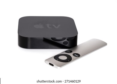 TORONTO, CANADA - APRIL 20, 2015: An Apple TV sits with the white background.
