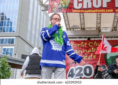 TORONTO, CANADA - APRIL 20, 2017: ACTIVIST MARC EMERY AKA PRINCE OF POT TALKS  at the 4/20 Day Event in Toronto.