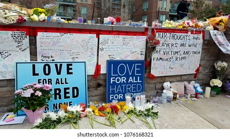 TORONTO, CANADA - APRIL 24, 2018: Signs in support of the victims of the Toronto van attack.