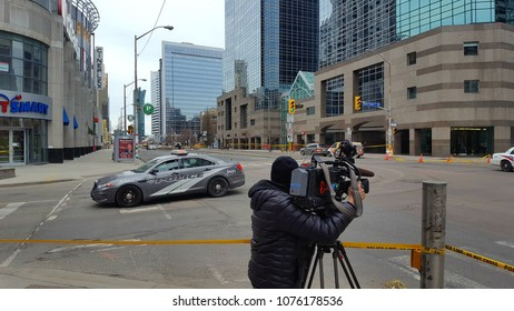 TORONTO, CANADA - APRIL 24, 2018: Media on the Toronto van attack crime scene, the day after.