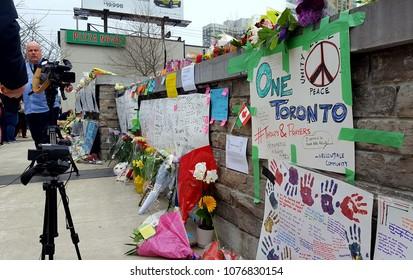 TORONTO, CANADA - APRIL 24, 2018: White van victims memorial on Yonge Street, Toronto.