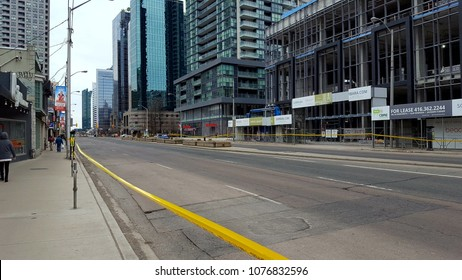 TORONTO, CANADA - APRIL 24, 2018: Deserted Yonge street closed by Toronto police.