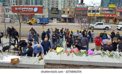 TORONTO, CANADA - APRIL 24, 2018: Toronto van attack victims memorial the day after the mass-murder.