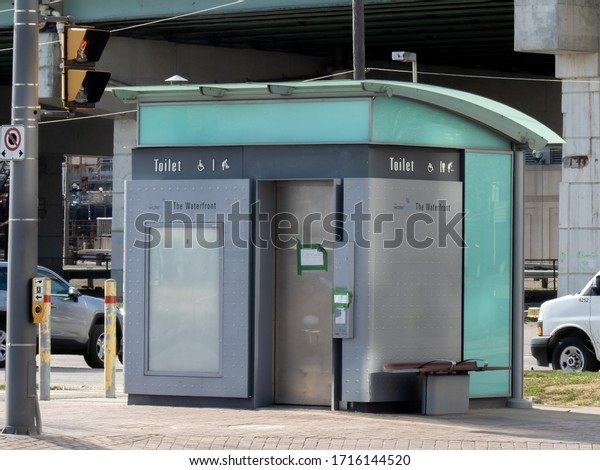 Toronto Canada, April 27, 2020; A city of Toronto public pay toilet at on Queens Quay on the waterfront.