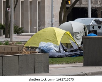 Toronto Canada, April 3, 2020; Homeless camp set up in park in middle of University avenue in downtown Toronto by the Court House to combat covid-19 pandemic