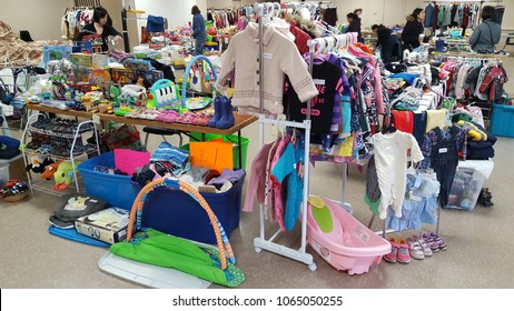 TORONTO, CANADA - APRIL 7, 2018: Items on sale at a mom to mom sale in Toronto, Canada.
