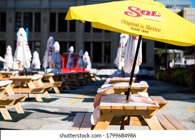TORONTO, CANADA - Aug. 18, 2020: Large pop up patio set up downtown Toronto in response to coronavirus pandemic.