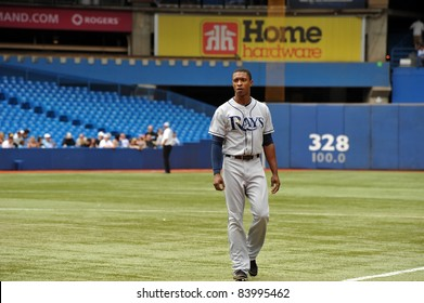 TORONTO, CANADA - AUG 28:  B J Upton of the Tampa Bay Rays during a game against the Toronto Blue  Jays at the Rogers Centre on August 28, 2011 in Toronto, Ontario, Canada.