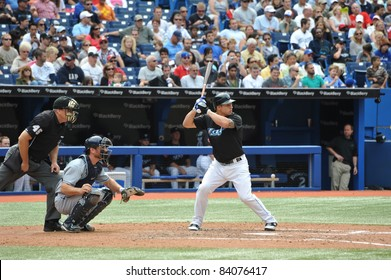 TORONTO, CANADA - AUG 28:  Canadian rookie sensation Brett Lawrie of the Toronto Blue Jays at bat against the Tampa Bay Rays August 28, 2011 in Toronto, Ontario, Canada.