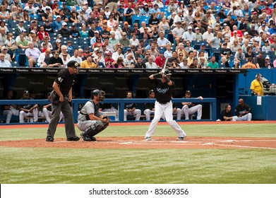 TORONTO, CANADA - AUG 28:  Reigning AL home run king Jose Bautista at bat against the Tampa Bay Rays at the Rogers Centre on August 28, 2011 in Toronto, Ontario, Canada.