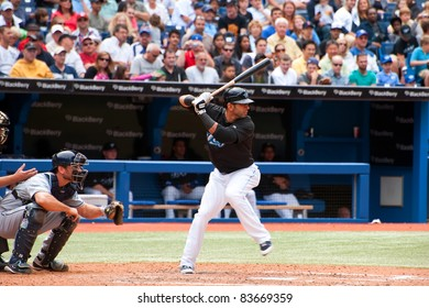TORONTO, CANADA - AUG 28:  Reigning AL home run king Jose Bautista at bat against the Tampa Bay Rays at the Rogers Centre August 28, 2011 in Toronto, Ontario, Canada.
