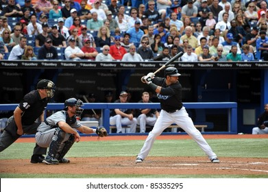 TORONTO, CANADA - AUG 28:  Reigning AL home run king Jose Bautista at bat against the Tampa Bay Rays August 28, 2011 in Toronto, Ontario, Canada.