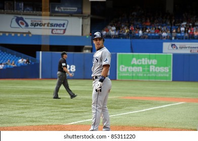 TORONTO, CANADA - AUG 28:  Second baseman Sean Rodriguez of the Tampa Bay Rays during a game against the Toronto Blue  Jays at the Rogers Centre August 28, 2011 in Toronto, Ontario, Canada.