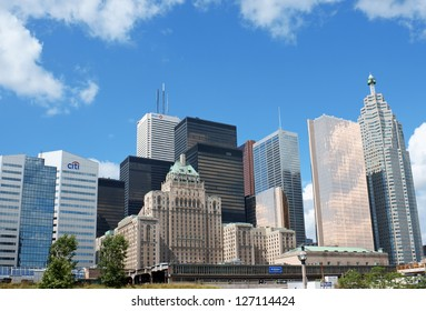 TORONTO, CANADA - AUGUST 1: downtown on August 1, 2008 in Toronto, Canada. Modern skyscrapers against a blue summer sky and the old fashioned Fairmont Royal York Hotel.